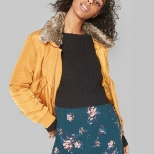 Removable Faux Fur Collar Bomber Jacket